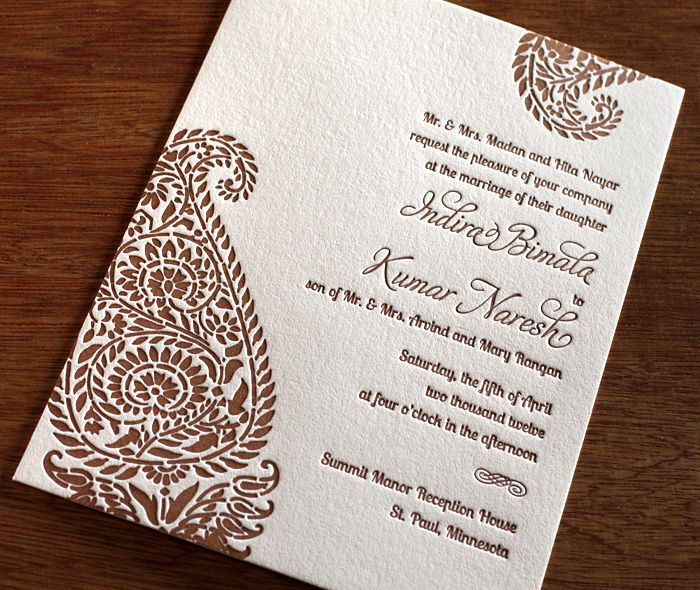 Best 25 indian wedding invitation cards ideas on pinterest indian letterpress wedding invitation by invitations by ajalon sciox Gallery