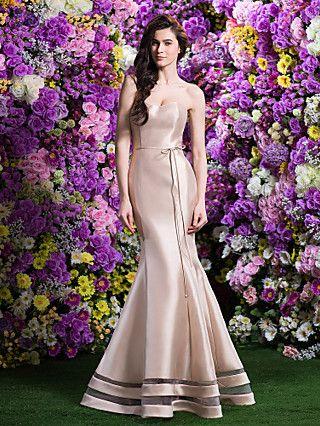 trompeta / sirena de barrido cariño / vestido de dama de honor de raso cepillo tren (2310084) | LightInTheBox