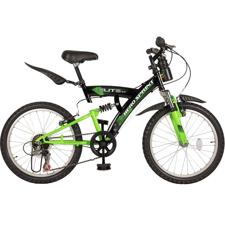 "Hero Cycles with Gear and Disc Brake Price | Hero Sprint 20T Elite 6 Speed Junior Cycle - Black & Green (15"" Frame)"