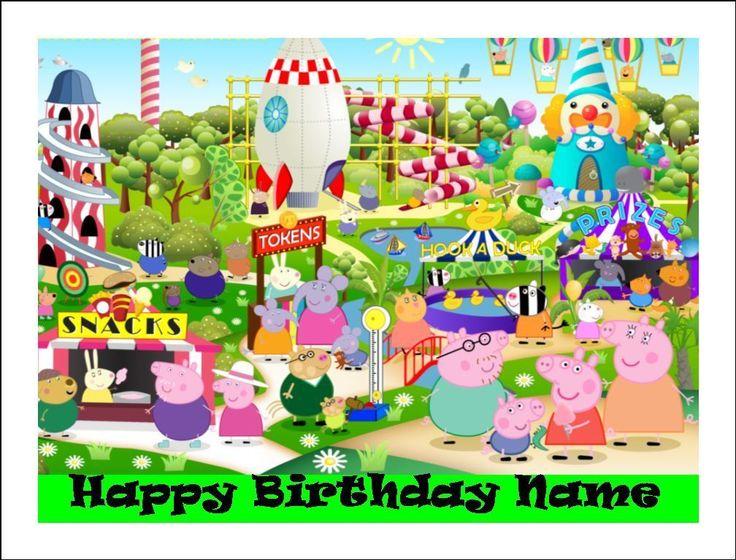 Peppa pig carnival a4 edible icing image birthday cake