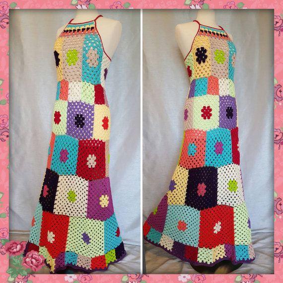 Sale Womens Crochet Granny Square Maxi Hippie by OrawanCrochet