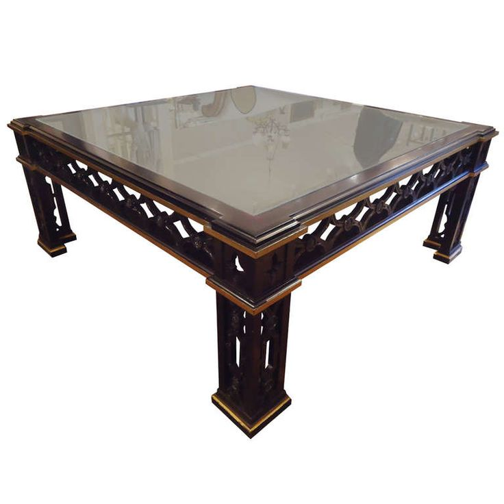 Ebonized And Giltwood Large Square Coffee Table