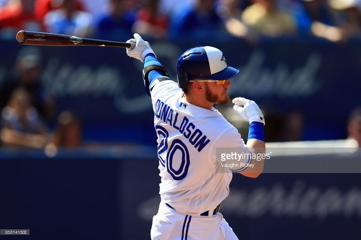 Josh Donaldson #20 of the Toronto Blue Jays hits an RBI single in the fourth inning during MLB game action against the New York Yankees at Rogers Centre on September 24, 2017 in Toronto, Canada.