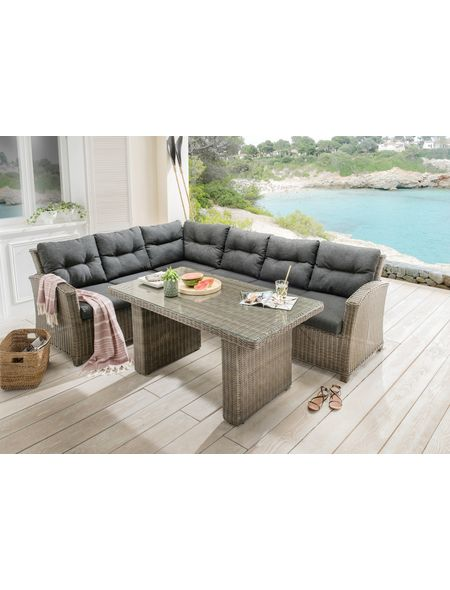 Loungeset »RIVIERA«, 15-tlg, 3er-Sofa, Tisch 80x145 cm, Polyrattan - gartenmobel polyrattan eckbank