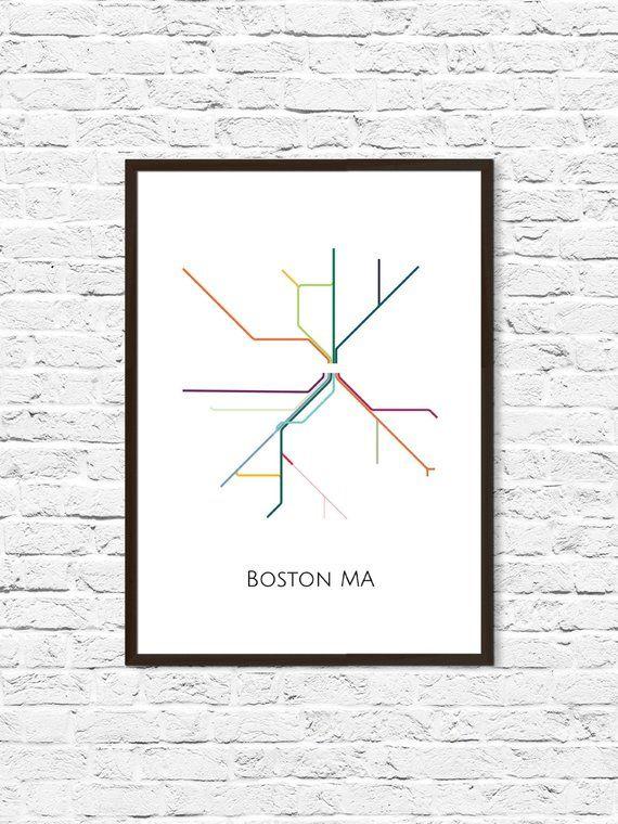 Subway Map Art Boston.Boston Boston Subway Subway Art Boston Metro Map Boston Map