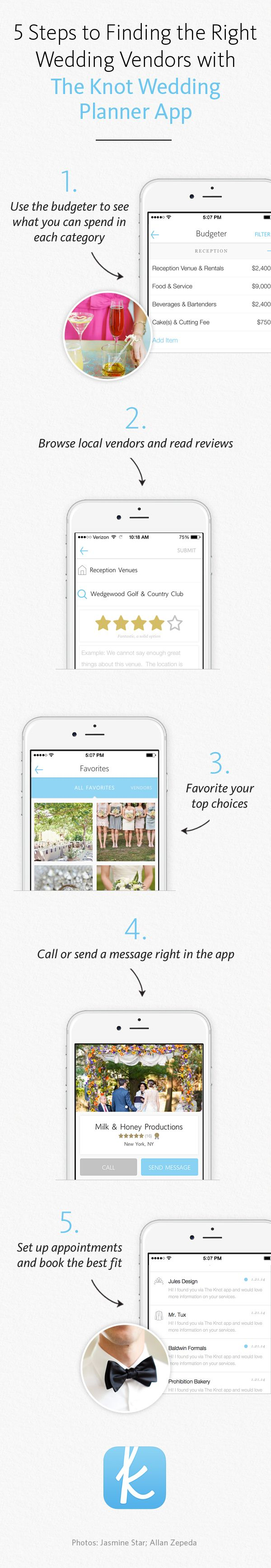 Budget for your dream venue, browse nearby vendors, read reviews and more. 5 steps to finding the right wedding vendor brought to you by The Knot's Planner App