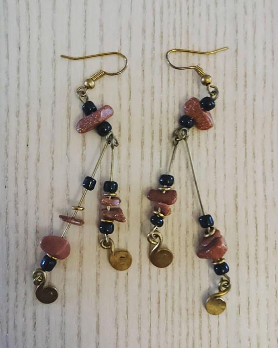 Afrocentric handcrafted earrings brown dangling earrings