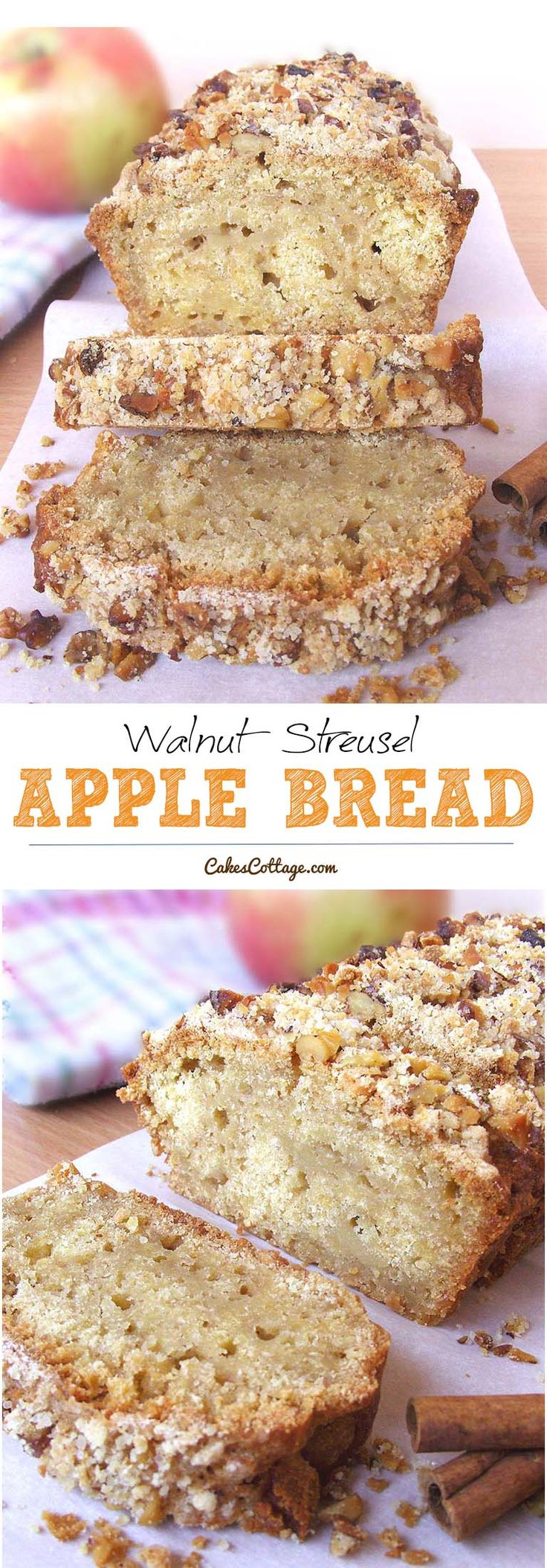 Apple Walnut Streusel Bread - An excellent way to enjoy your favorite kind of apple.