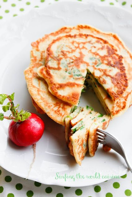 Surfing the world cuisine: Pancakes with spinach / Blynai su špinatais