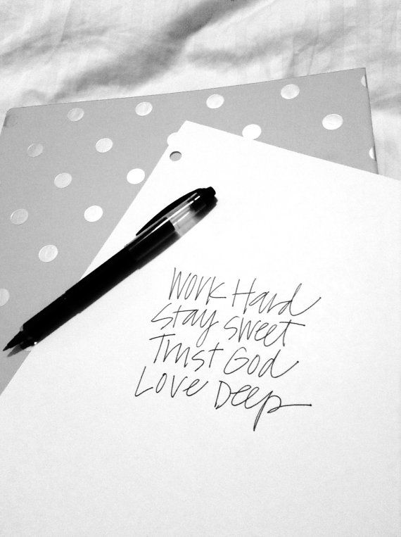 Life Motto Print  Work Hard Stay Sweet Trust by allshewrotenotes, $5.00