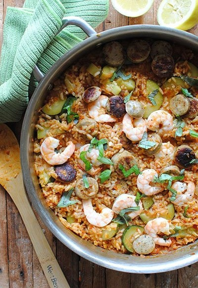 Paella with Zucchini, Shrimp, and Chicken Sausage - love this kind of ...