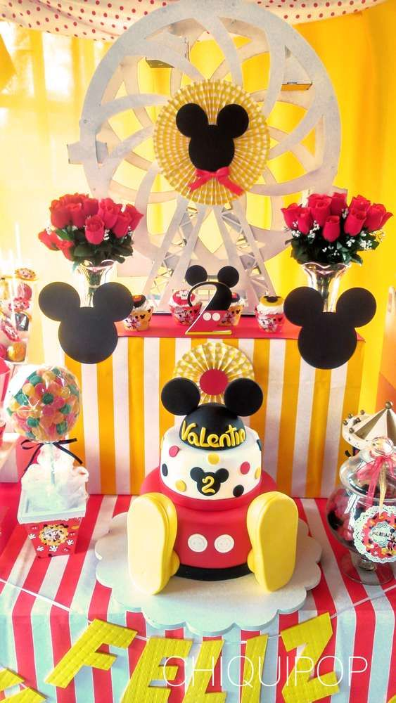Red, black and yellow Mickey Mouse party! See more party planning ideas at CatchMyParty.com!