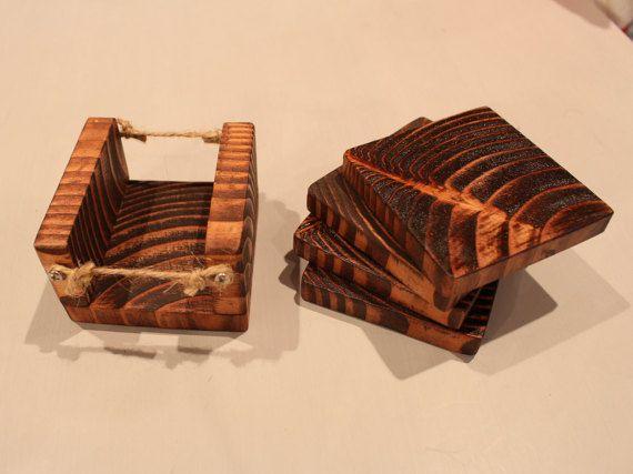 Rustic Coasters / Solid Wood / Holder  Handmade Unique