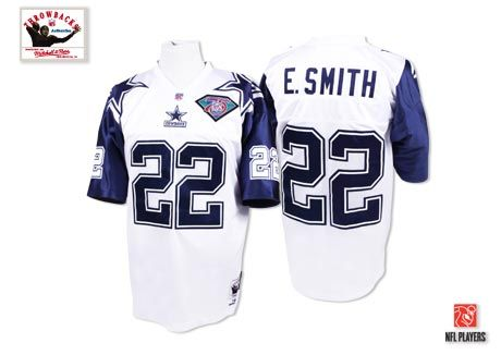 Mitchell And Ness #22 Emmitt Smith Authentic White 75TH Patch Throwback NFL Dallas  Cowboys Jersey