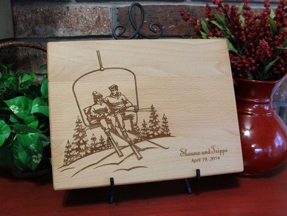 Personalized Cutting Board Skiing Chair Lift Lasered Engraved Wedding Present Anniversary Gift Bridal Shower Gift Christmas Present