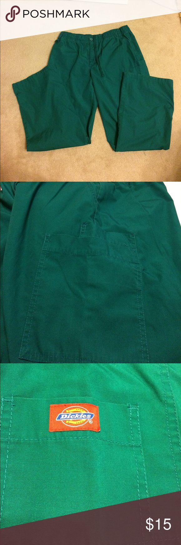 Dickies Pants Green dickeys pants with one pocket in the back one pocket on top in the front and each side has two additional pockets further down on the leg. Waistband is elastic and inseam is 30 1/2 inches. Have been worn but still in really good condition Dickies Pants