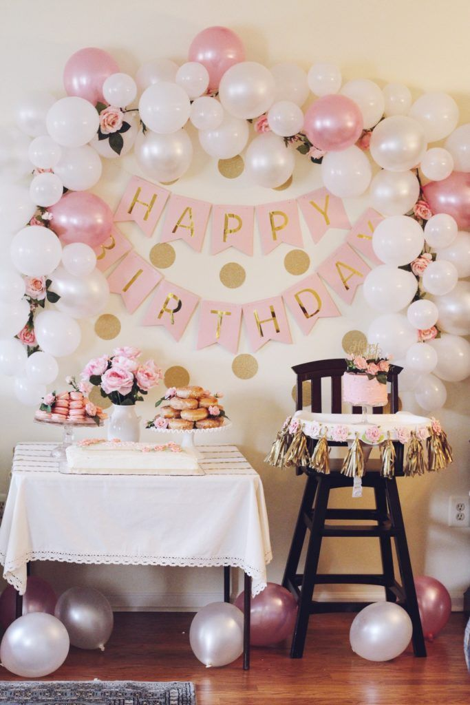 Aria S Pink And Gold First Birthday Party Project Nursery Gold Birthday Party Decorations Floral Birthday Party Birthday Party Decorations Diy
