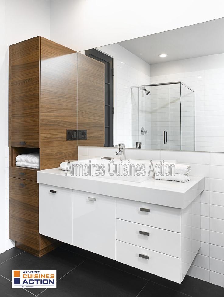 Une salle de bain en m lamine et en thermoplastique avec for Hauteur comptoir salle de bain