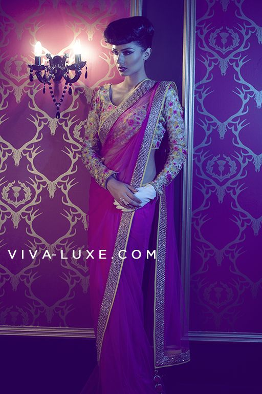 VIKRAM PHADNIS Trendy Pink Saree With Gold Sequinned Borders  #Saree #Bollywood #Designer