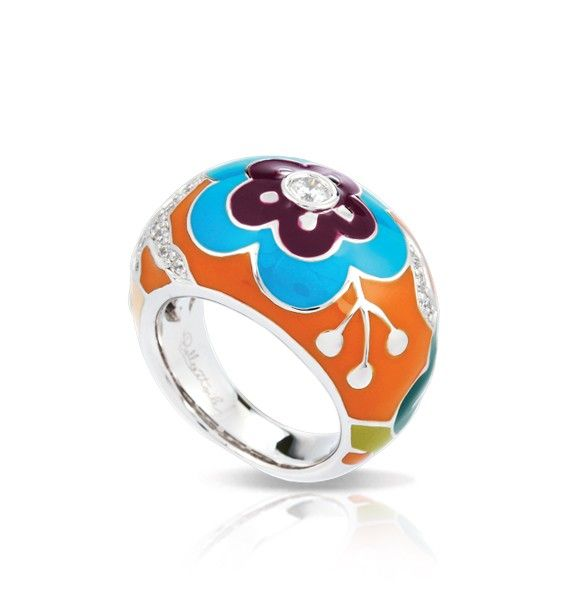 Cherry Blossom Collection; Orange Ring; Revel in nature's beauty with a charming display of colorful blossoms in hand-painted enamel and brilliant stones. This vibrant set is crafted with Belle Étoile's signature sterling silver, which is always rhodium-plated and nickel-free.