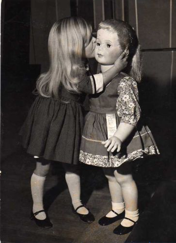 Vintage 1962 U s Toy Exhibition in London Young Girl with Life Size Doll Photo - wow this is amazing - can you imagine if our dolls were life size?!