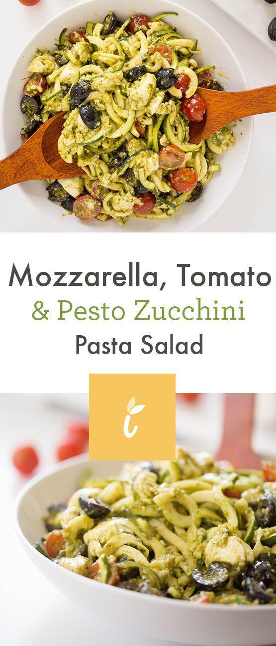 Mozzarella, Tomato and Pesto Zucchini Pasta Salad - Weight Watchers SmartPoints*: 10 points