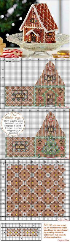 "Рождественский домик ""Gingerbread delight"" - Бискорню и другие ""кривульки""…  gingerbread house in plastic canvas cut and sew according to graph."