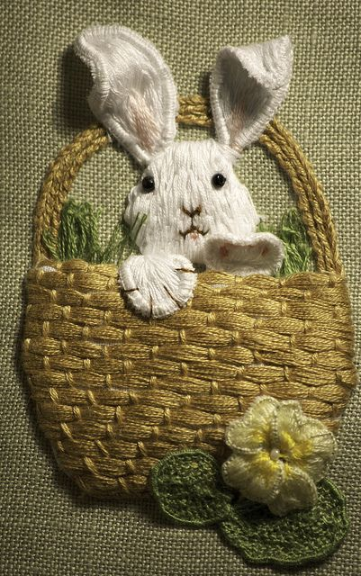 Stumpwork embroidery Rabbit in a Basket by Cross Duck, via Flickr