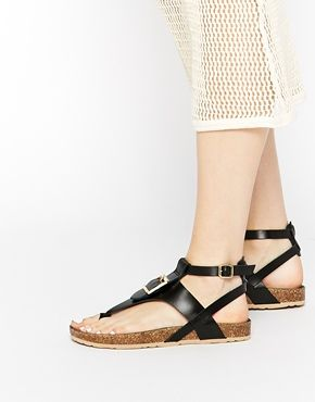 Enlarge ASOS FIMBLE Footbed Toe Post Leather Sandals