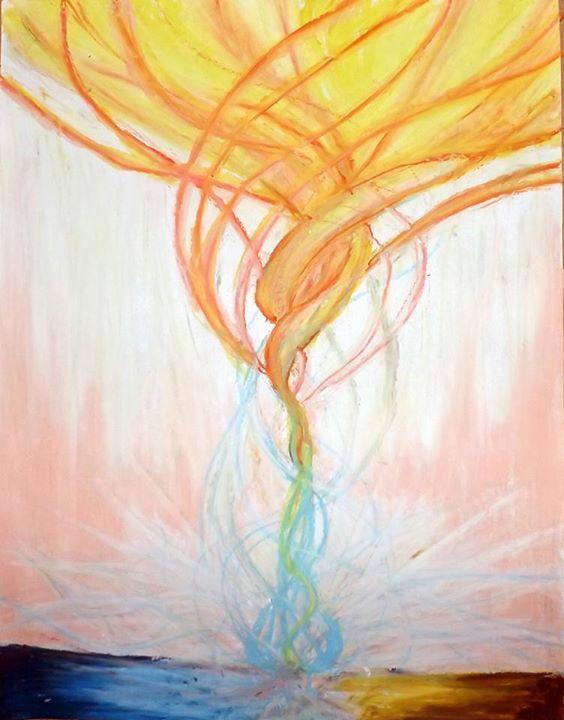 Imagen inspirada por Dios, es el alma ( parte azul, inferior a la izquierda) y la carne (parte cafe,inferior a la derecha) que cubren a nuestro espiritu. Pero que luego sale desde el medio, cubriendo al alma y la carne, tomando la autoridad, la autoridad de Dios, es el comienzo del alineamiento con el Fuego del Espiritu Santo, que se ve de una forma imponente pero apacible, este es el vinculo con el cielo