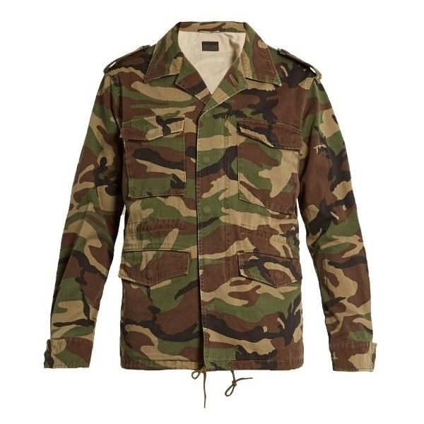 Saint Laurent Love-appliqué camouflage-print military jacket ($1,890) ❤ liked on Polyvore featuring men's fashion, men's clothing, men's outerwear, men's jackets, mens camouflage jacket, mens utility jacket, men's embroidered bomber jacket, mens long jacket and mens camo jacket