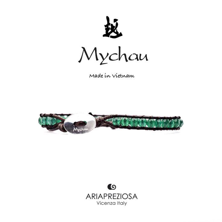 Mychau - Bracciale Vietnam originale realizzato con Agata Verde naturale su base bracciale col. Testa di Moro