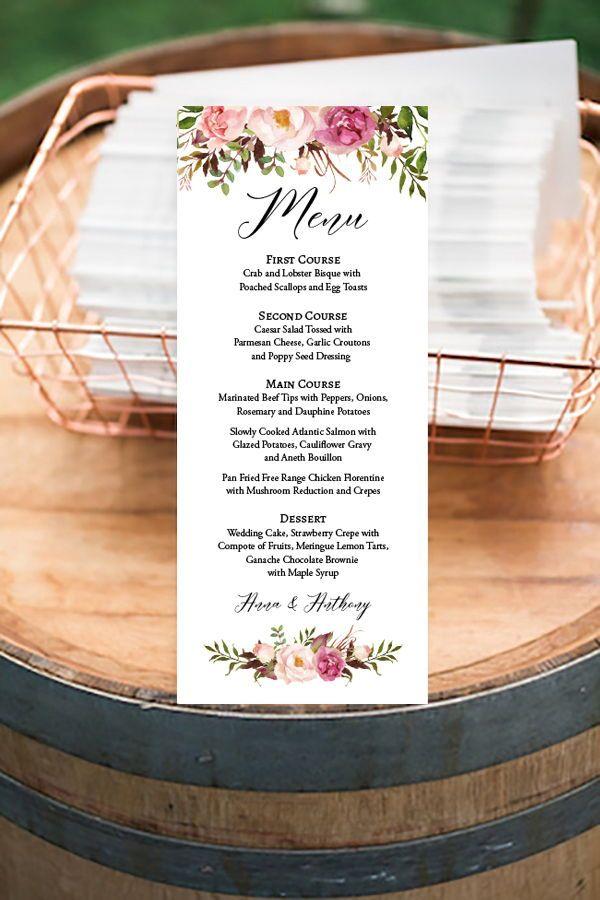 Diy Menu Cards Boho Menu Printable Template Wedding Menu Etsy Printable Wedding Menu Wedding Menu Template Wedding Menu