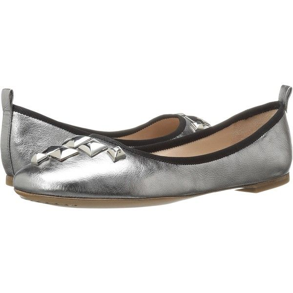 Marc Jacobs Cleo Studded Ballerina (Dark Silver Leather) Women's... ($137) ❤ liked on Polyvore featuring shoes, flats, silver, studded flats, leather slip on shoes, ballet pumps, ballet shoes and silver ballet flats