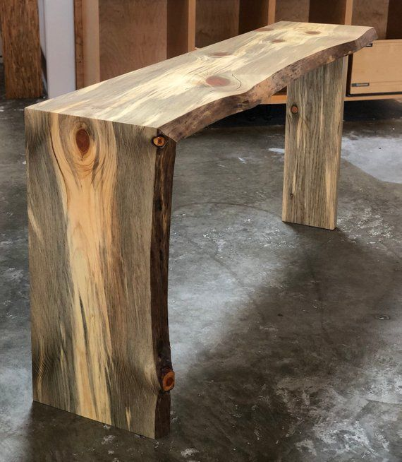 Console Table W Waterfall Edge Made From Blue Pine Message For Custom Sizing Rustic Wood Projects Pine Furniture Wood
