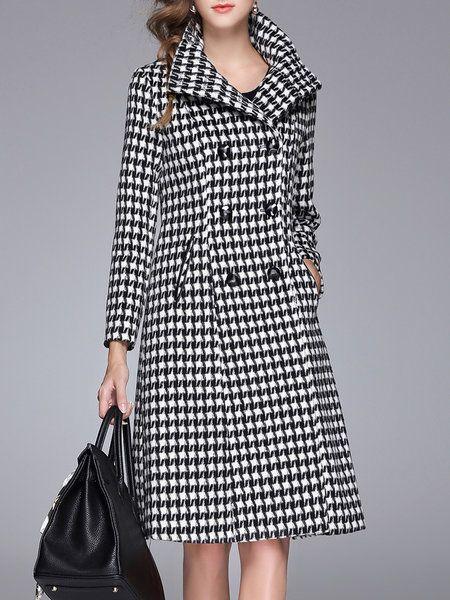 Black-white Long Sleeve Lapel Houndstooth Coat
