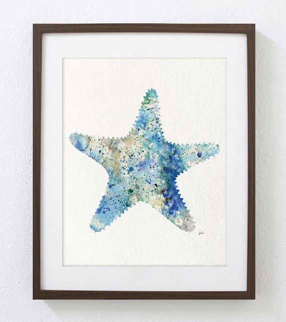 Watercolor Art  Starfish Painting 8x10 Archival Print by ElfShoppe