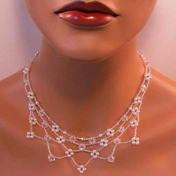 Pearl Necklace Crystal Necklace Bridal Necklace by TwoBeWedJewelry, $146.00