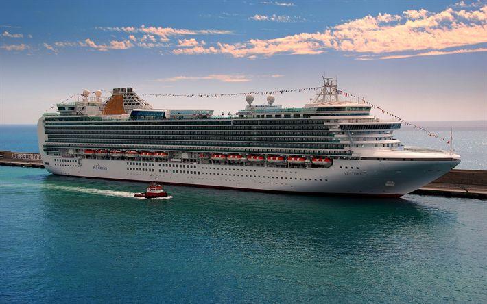 Scarica sfondi MV Ventura, nave da crociera, il molo, il porto, HDR