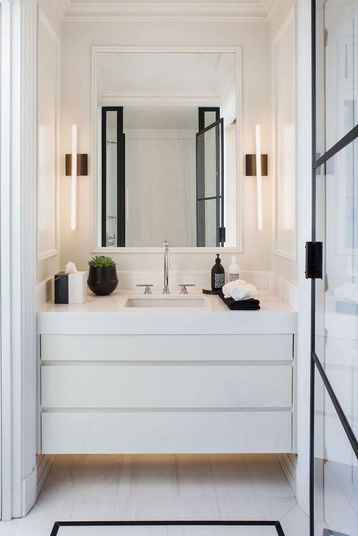 sleek and modern powder bath vanity ideas with built-up edge