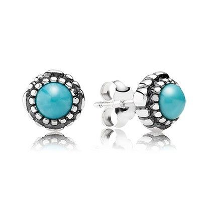 Pandora December Birthstone Stud Earrings In Sterling Sillver And Turquoise KY089