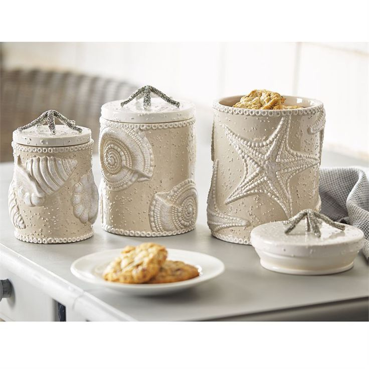 What a unbelievable unique coastal Sand Nautilus Canister Set to spruce up your beach house kitchen or bathroom.