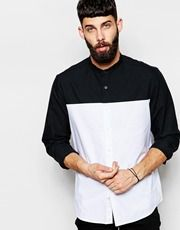 ASOS Monochrome Shirt With Cut And Sew Panels With Long Sleeves