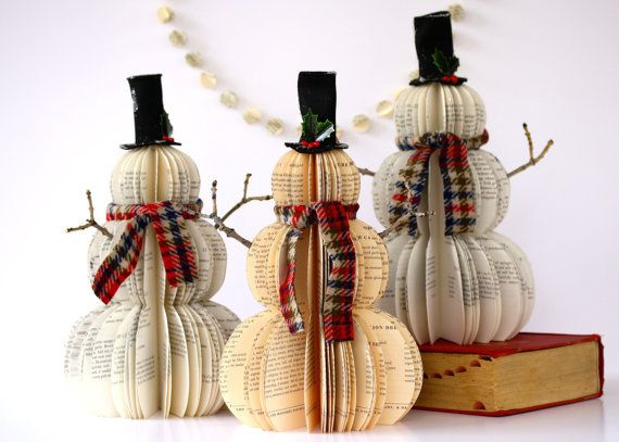 Vintage Book Snowmen by all things paper, via Flickr