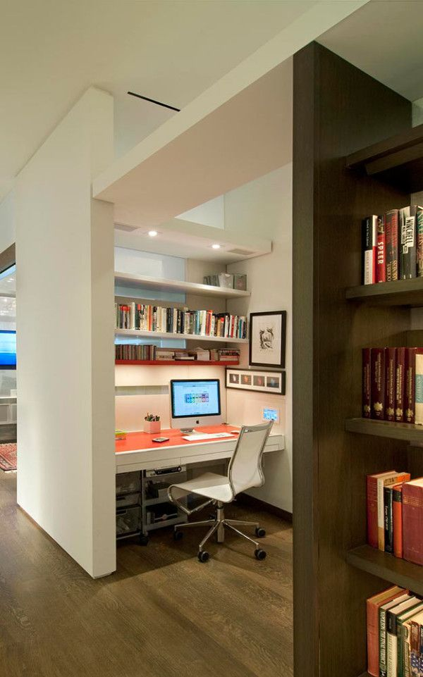 would love this for an office - private and cozy nooks with lots of lighting options but also pretty open