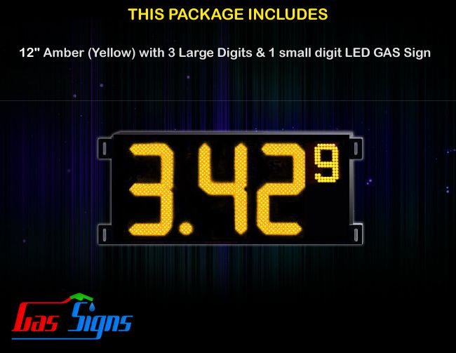 12 Inch Gas Price LED Sign (Digital) Amber (Yellow) with 3 Large Digits & 1 small digit with housing dimension H400mm x W836mm x D55mmand format 8.88 9 comes with complete set of Control Box, Power Cable, Signal Cable & 2 RF Remote Controls (Free remote controls).