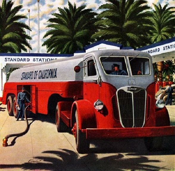 1945 Autocar Gas Tanker Truck. | Old Gas Stations, Car ...