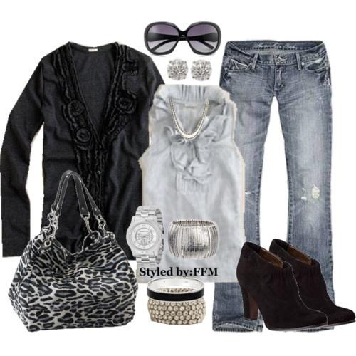 Fall fashion: Fashion, Purse, Stuff, Bag, Casual, Outfit, Styles, Gray, Black