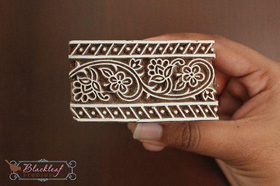 Wood Block Printing Hand Carved Indian Wood Textile Block Stamp Border