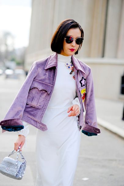Follow The Summer Jacket Trend And Get Your Own Purple Lilac Tie Dye Faded Suede Leather Long Sleeved Bomber Jacet With Pocket Embellishment And Team It With A White Turtleneck Bodycon Dress Tumblr